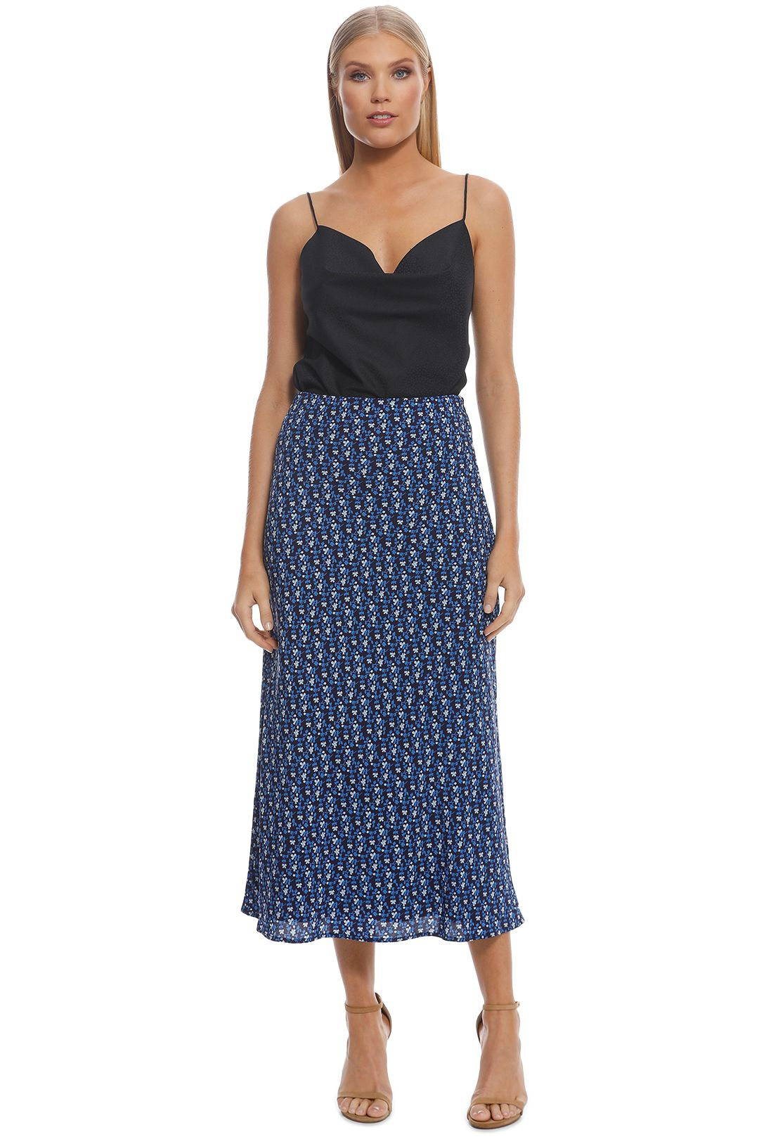 CMEO Collective - Sanguine Skirt - Dark Blue Floral - Front