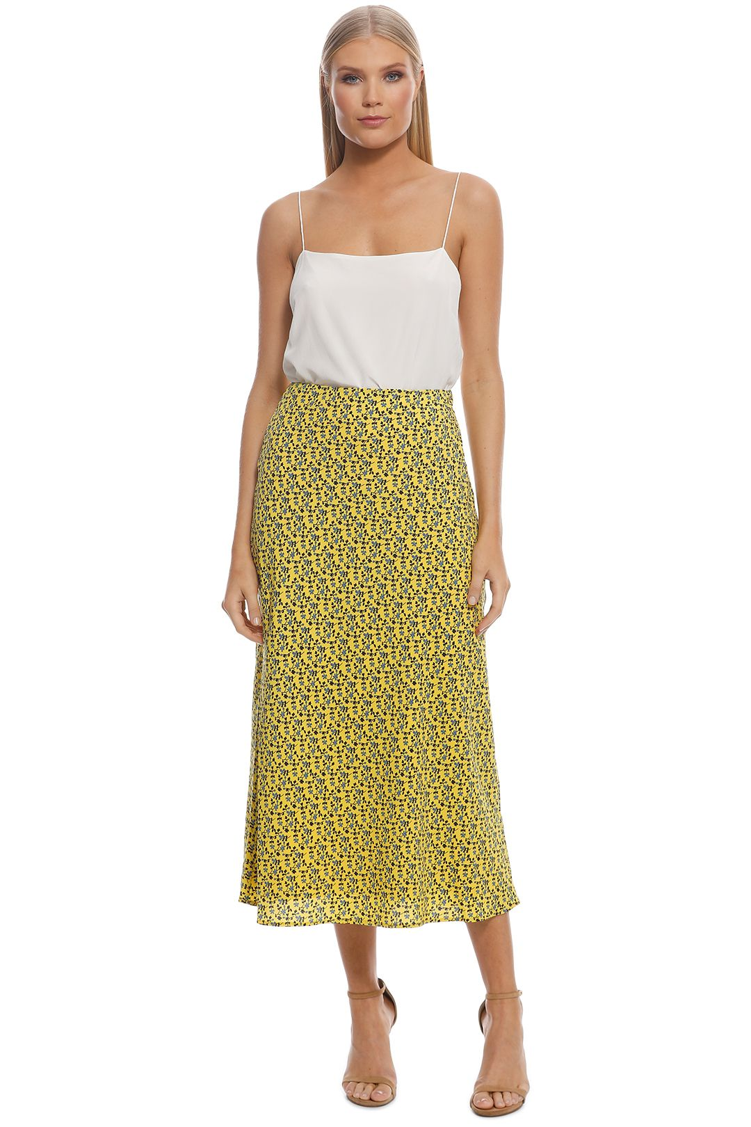 CMEO Collective - Sanguine Skirt - Yellow Floral - Front