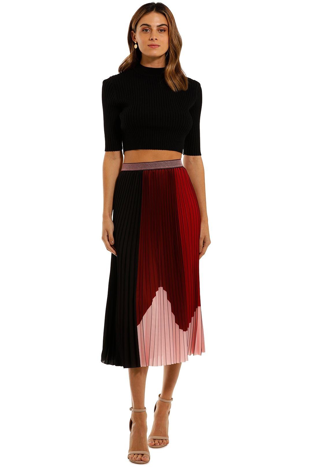 COOP Pleat Emotion Skirt Wine Mix