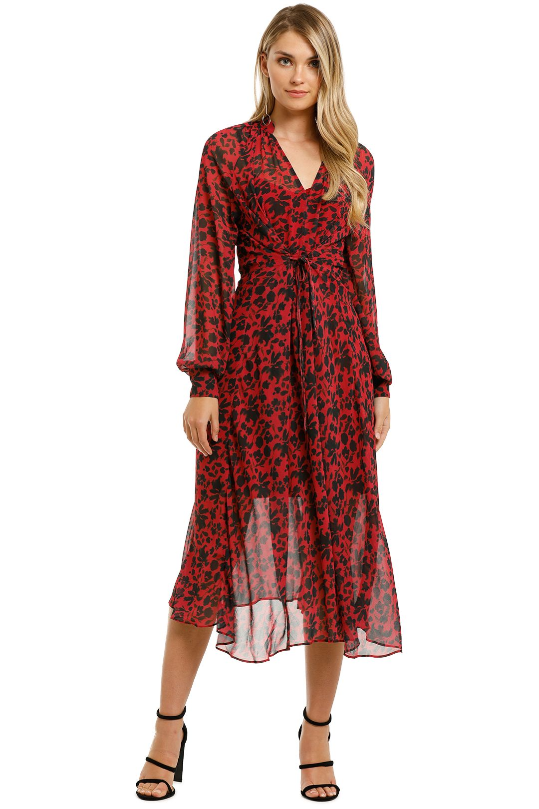 Cooper-St-Badlands-Long-Sleeve-Midi-Dress-Red-Animal-Front