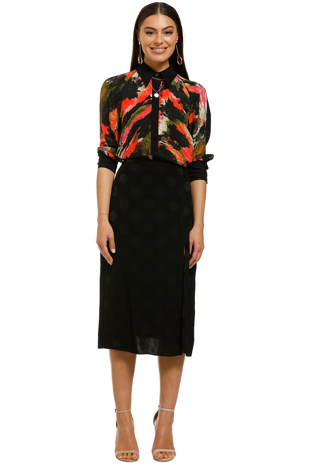 Cooper-St-Bright-Eyed-Skirt-Black-Polka-Dot-Front