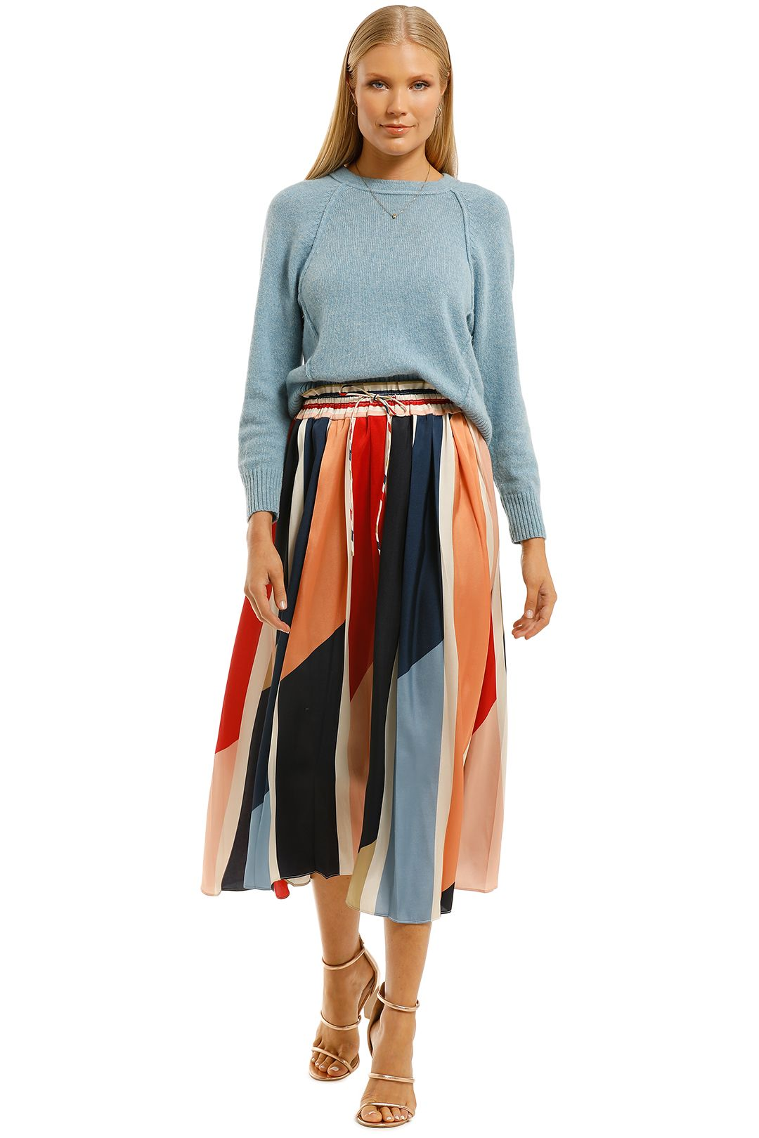 Cooper-St-Charlie-Pleated-Skirt-Print-Light-Front