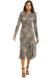 Cooper-St-Cobra-Long-Sleeve-Frill-Midi-Dress-Print-Front