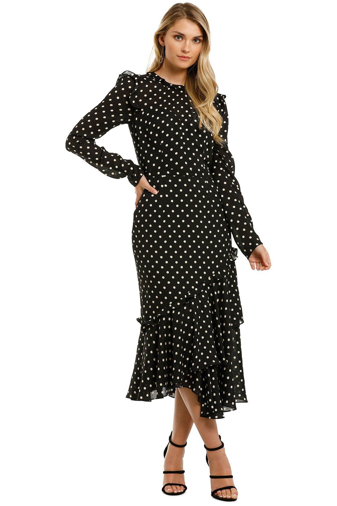 Cooper-St-Magnolia-Polka-Dot-Midi-Dress-Black-Front
