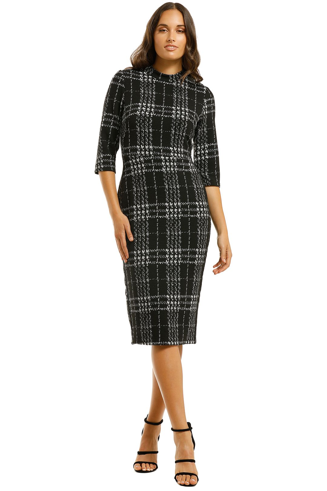 Cooper-St-Tessellation-Fitted-Dress-Black/White-Front