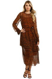 Cooper-St - Esmee Zebra Midi Dress - Toffee Zebra Print-Front