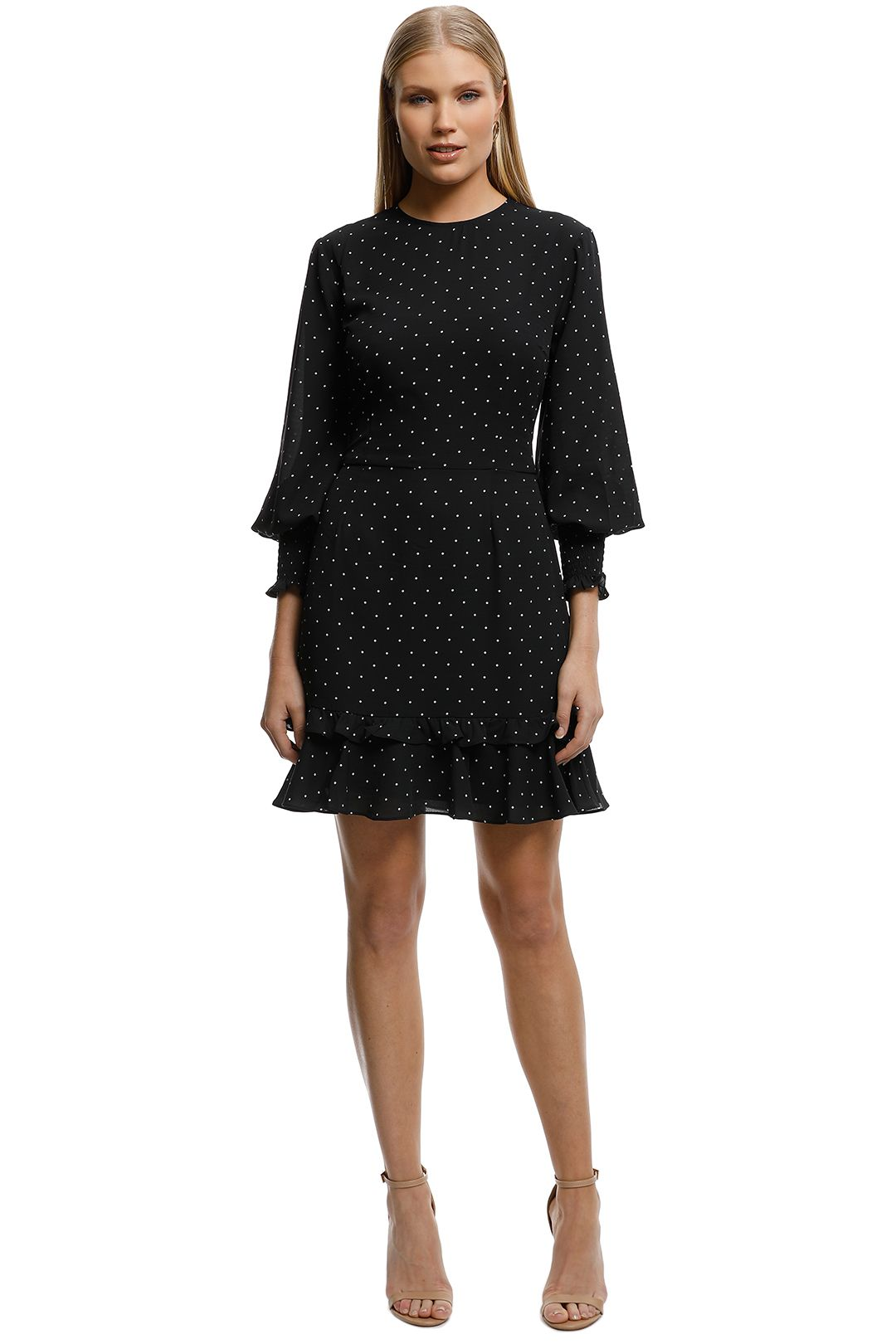 Cooper St-Portia Long Sleeve Mini Dress-Polkadot- Front.