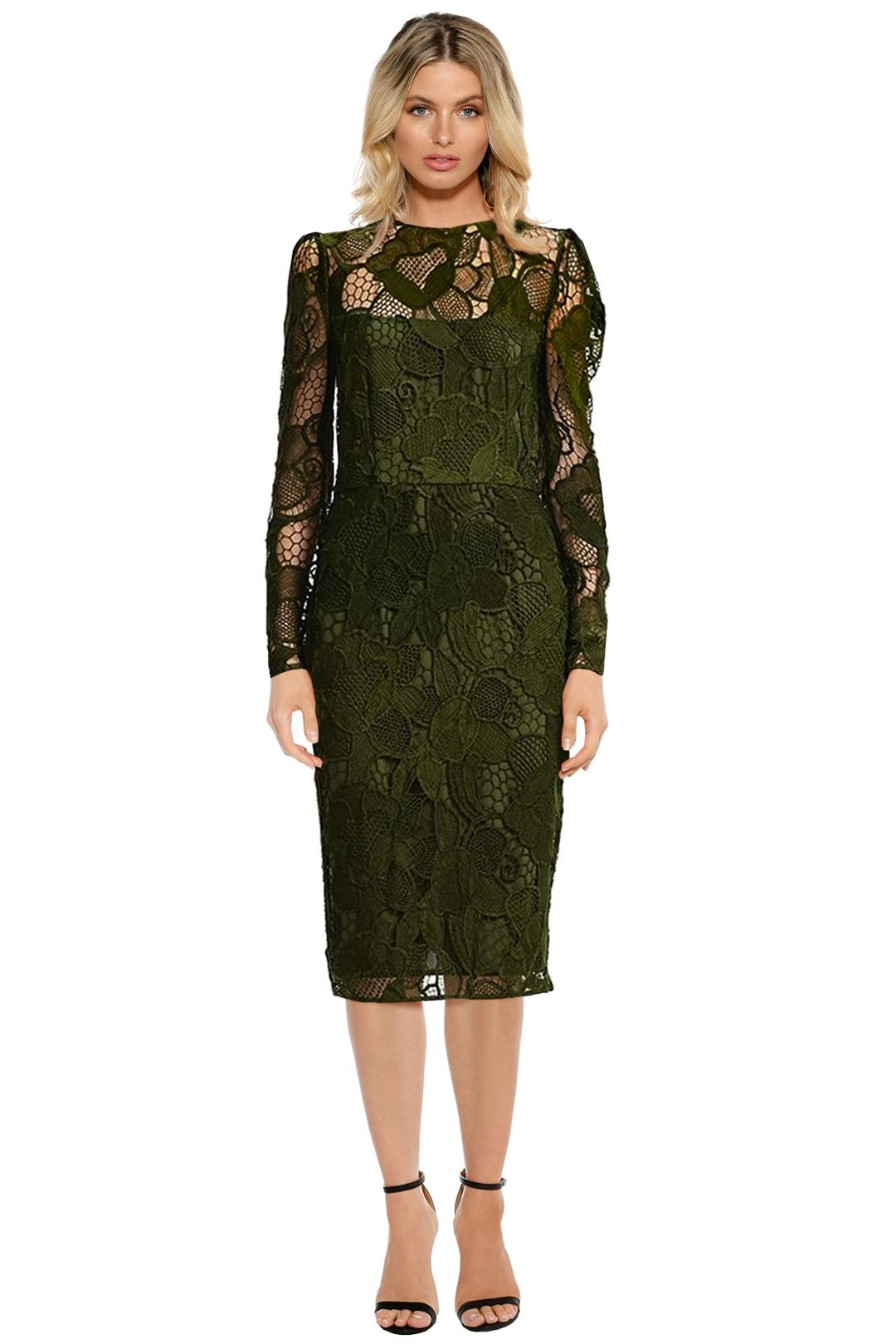 Cooper St - Cast Away Lace Dress - Dark Green - Front