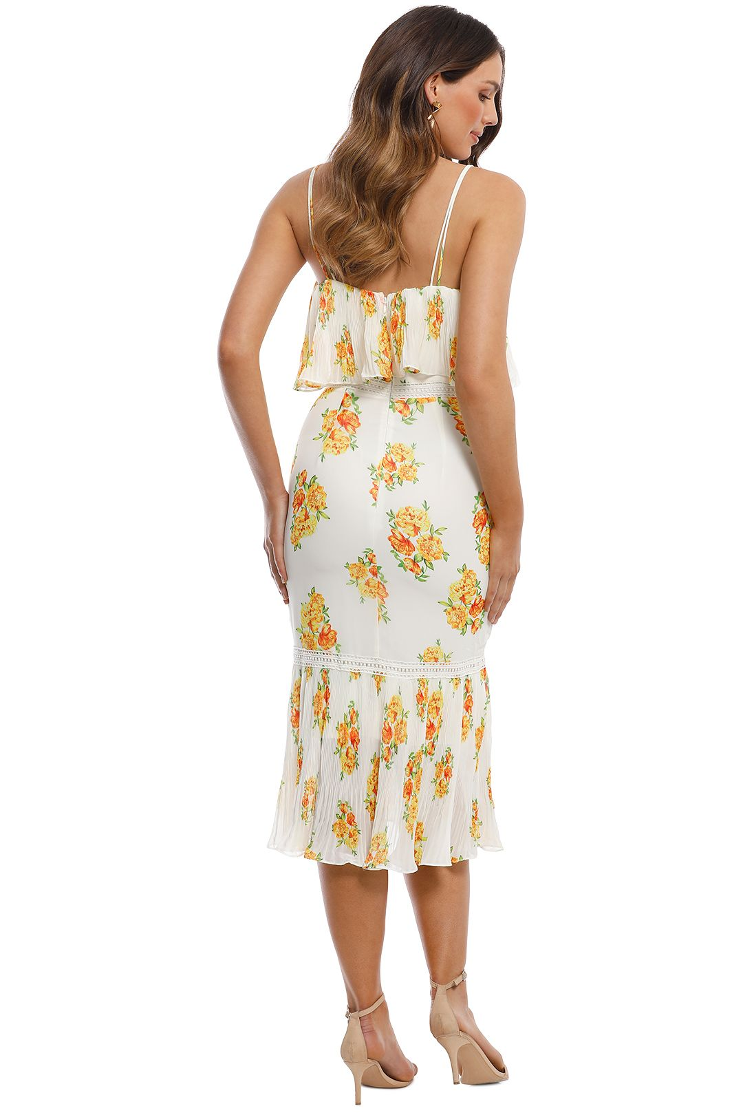Cooper St - Darjeeling Fitted Layered Dress - Ivory Print - Back