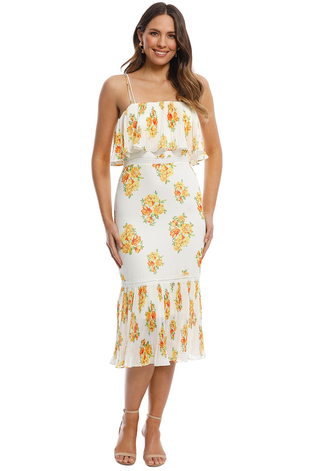 Cooper St - Darjeeling Fitted Layered Dress - Ivory Print - Front