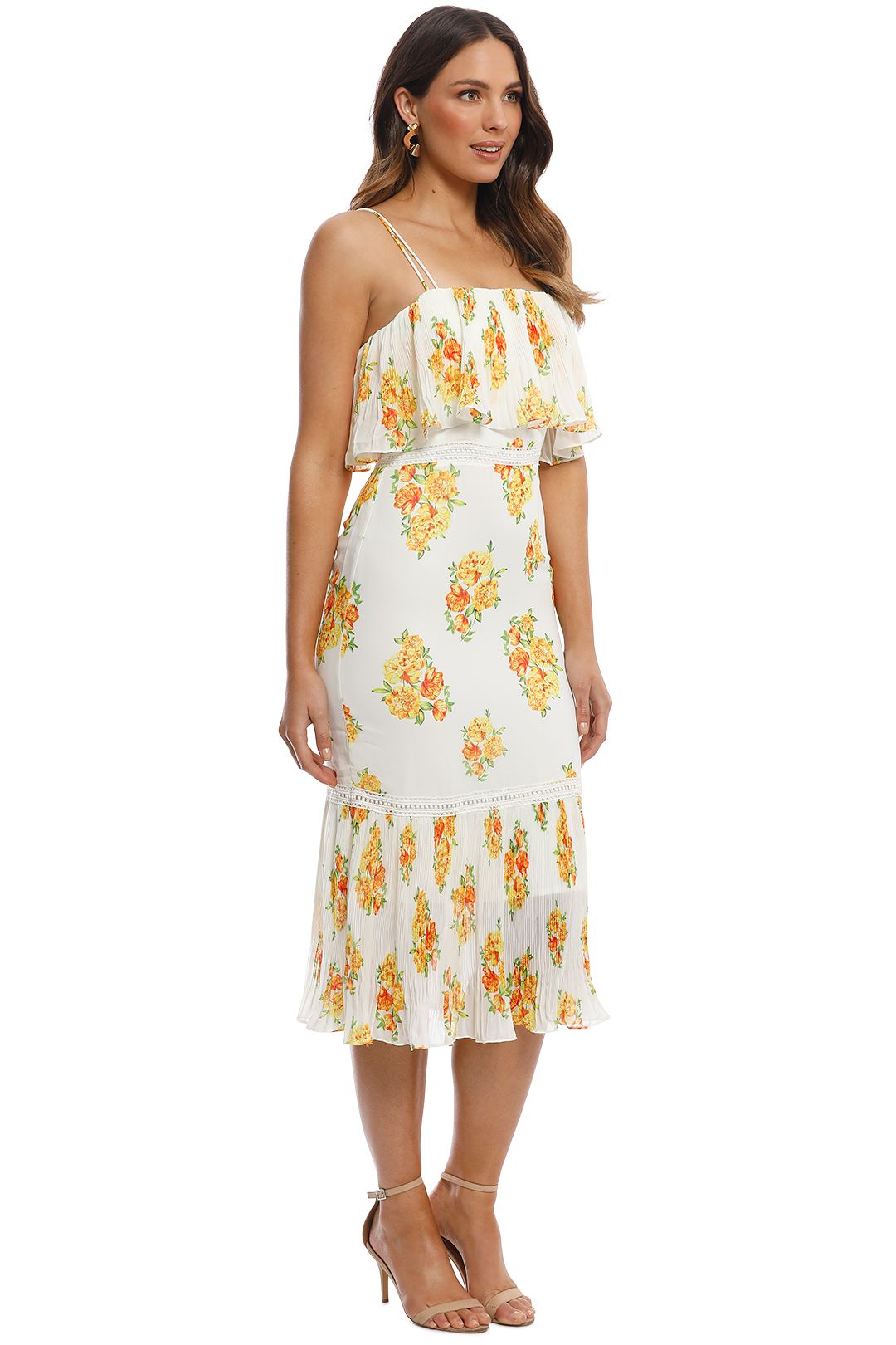 Cooper St - Darjeeling Fitted Layered Dress - Ivory Print - Side
