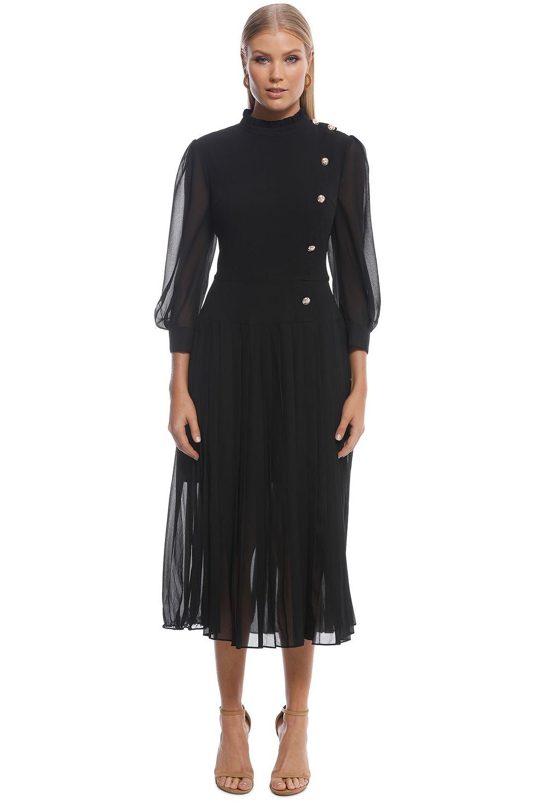 Cooper St - Is This Love Long Sleeve Midi Dress - Black - Front