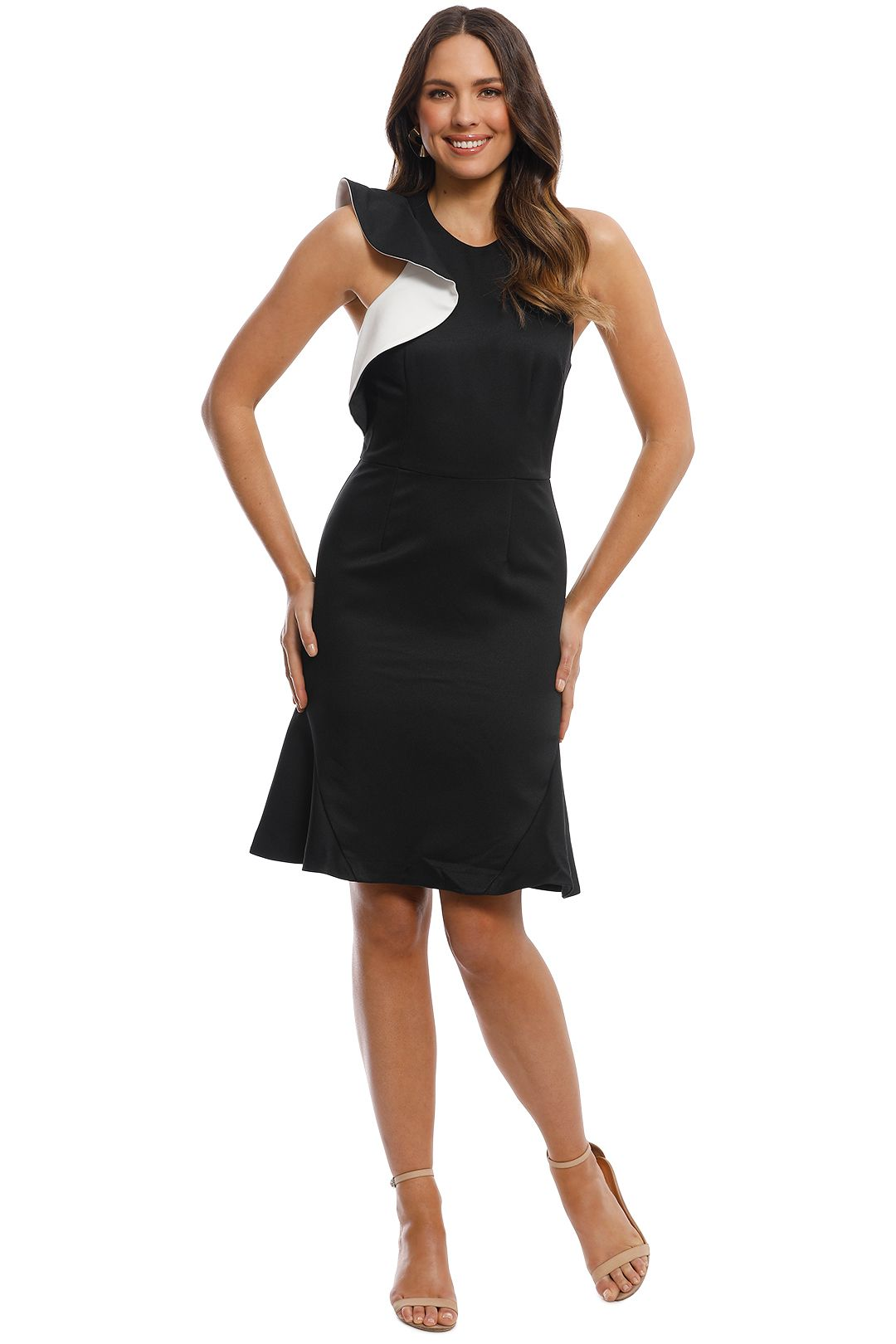 Cooper St - Jasmine High Neck Fitted Dress - Black - Front