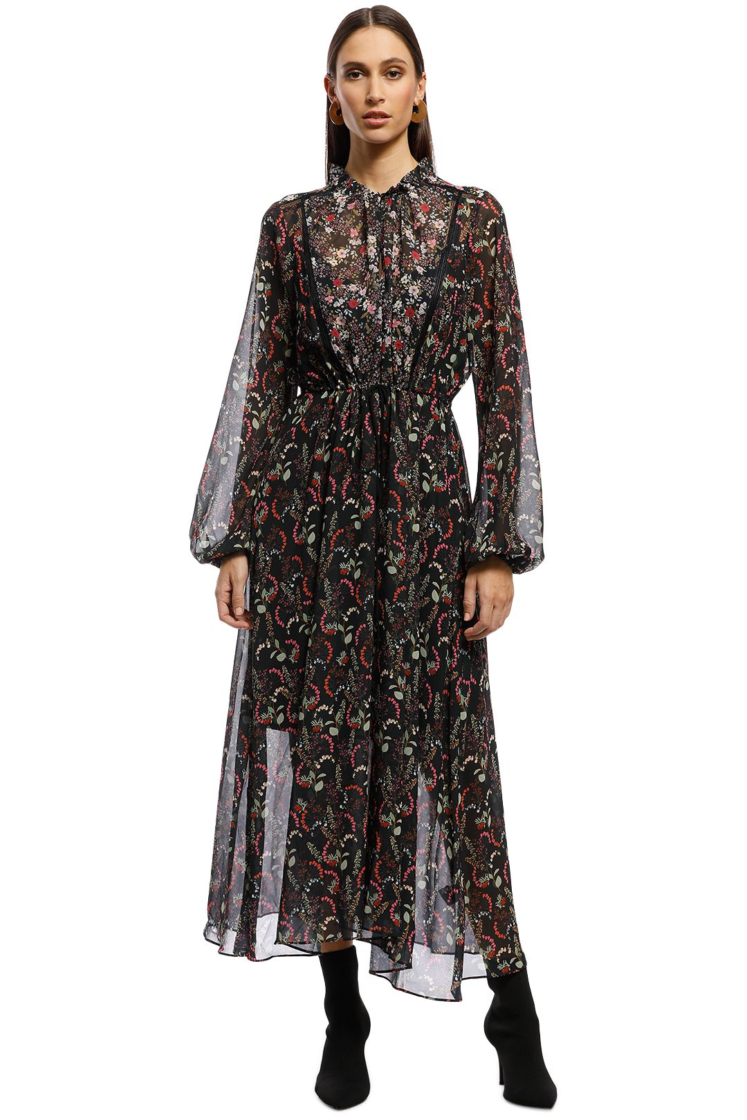 Cooper St - With A Kiss Long Sleeve Midi Dress - Black Floral - Front