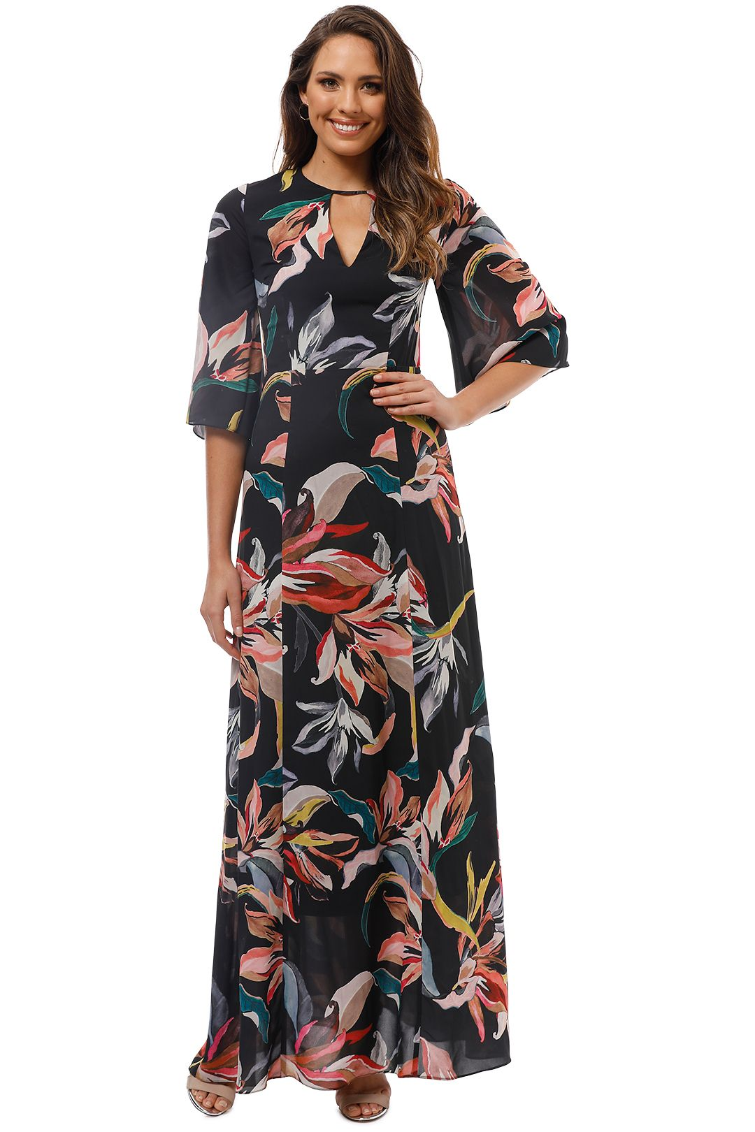 Cooper St - Jourdan Lace Up Back Gown - Black Floral - Front