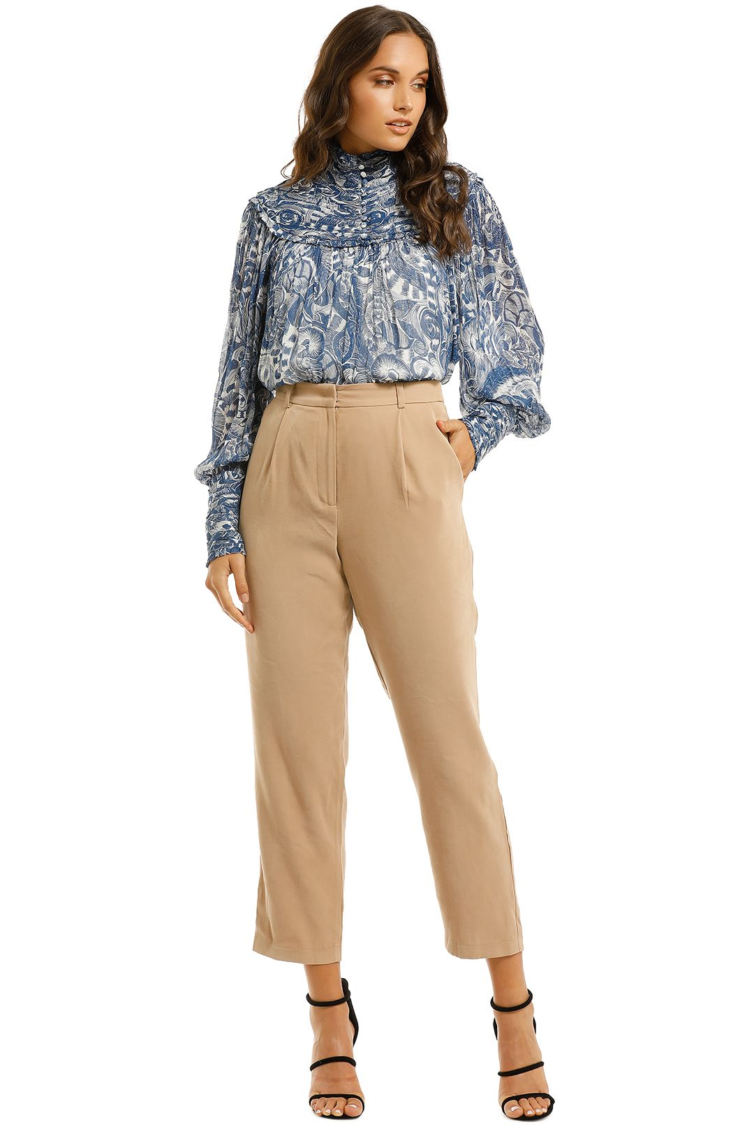 Countr-Road-High-Neck-Blouse-Deep-Blue-Front