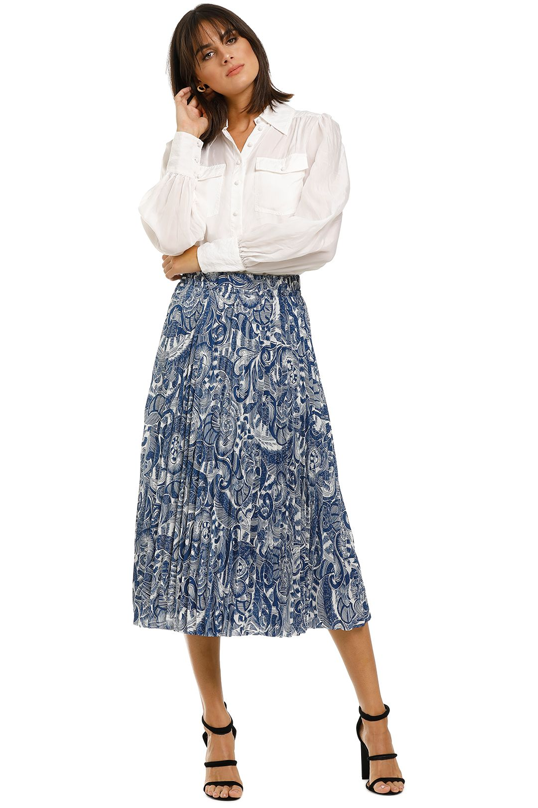 Countr-Road-Print-Pleat-Skirt-Deep-Blue-Front