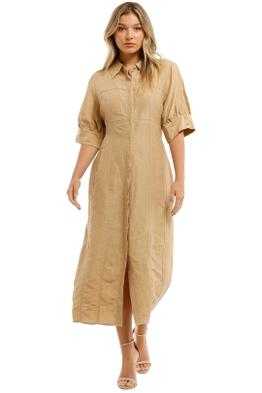 Country-Road-Button-Through-Shirt-Dress-Flax-Front