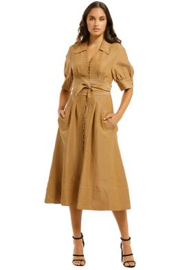 Country-Road-Contrast-Stitch-Dress-Camel-Front