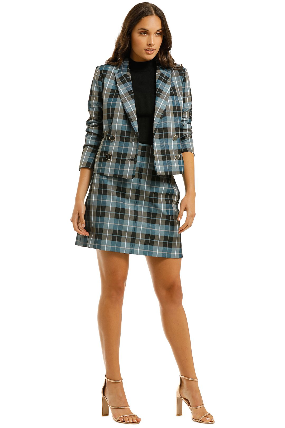 Country-Road-Crop-Check-Blazer-and-Mini-Skirt-Set-Powder-Blue-Side