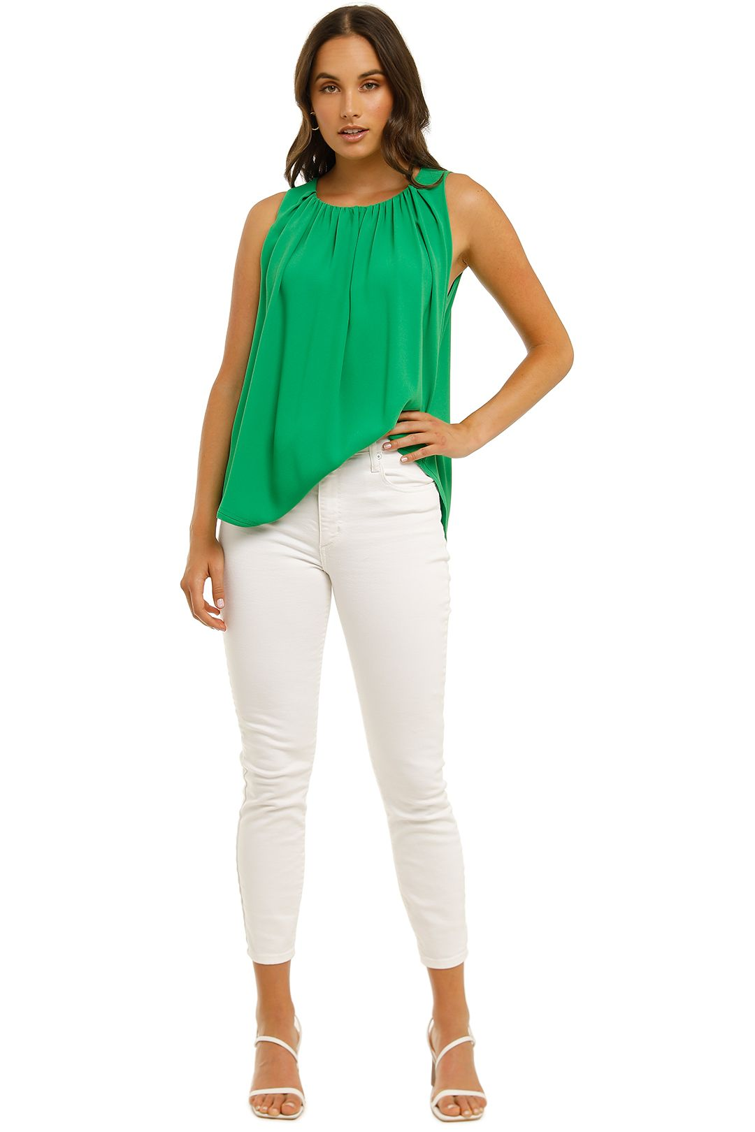 Country-Road-Gathered-Neck-Shell-Top-Vivid-Green-Front