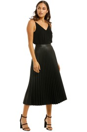 Country-Road-Pleated-Faux Leather-Skirt-Black-Front