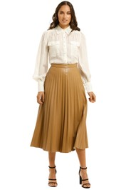 Country-Road-Pleated-Faux-Leather-Skirt-Camel-Front