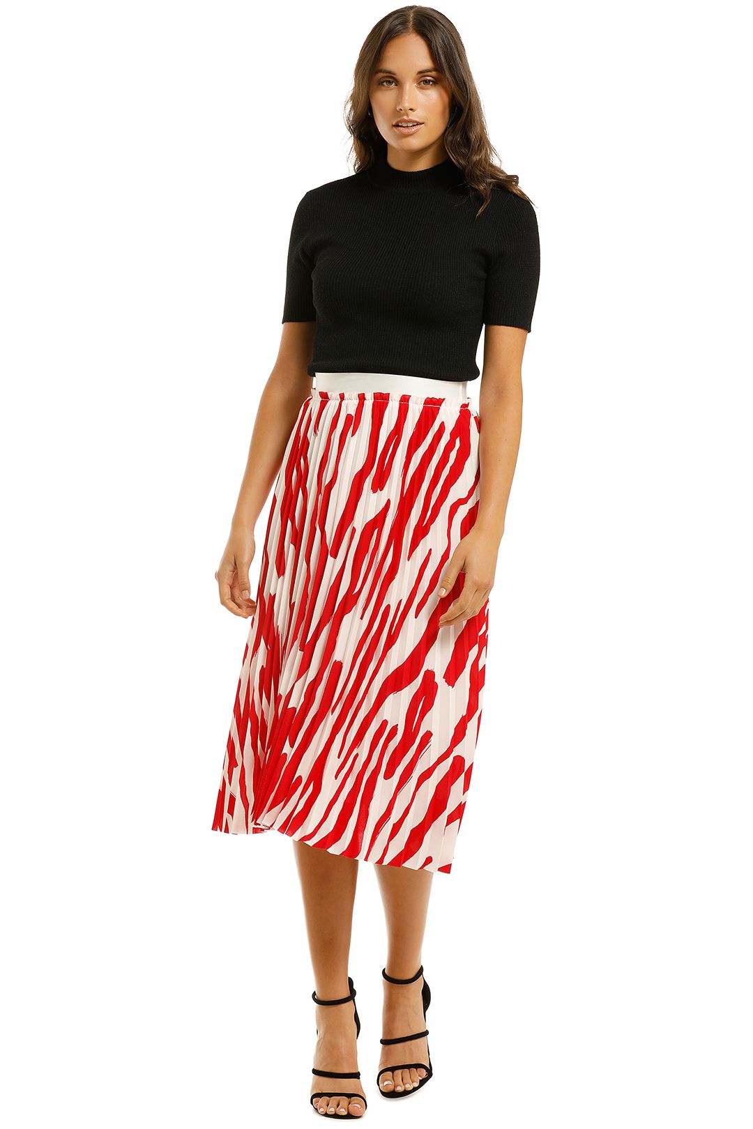 Country-Road-Print-Pleat-Skirt-Scarlet-Front