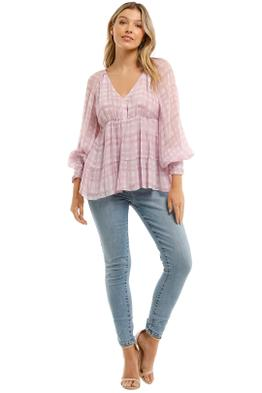 Country-Road-Print-Soft-Tiered-Blouse-Orchid-Front