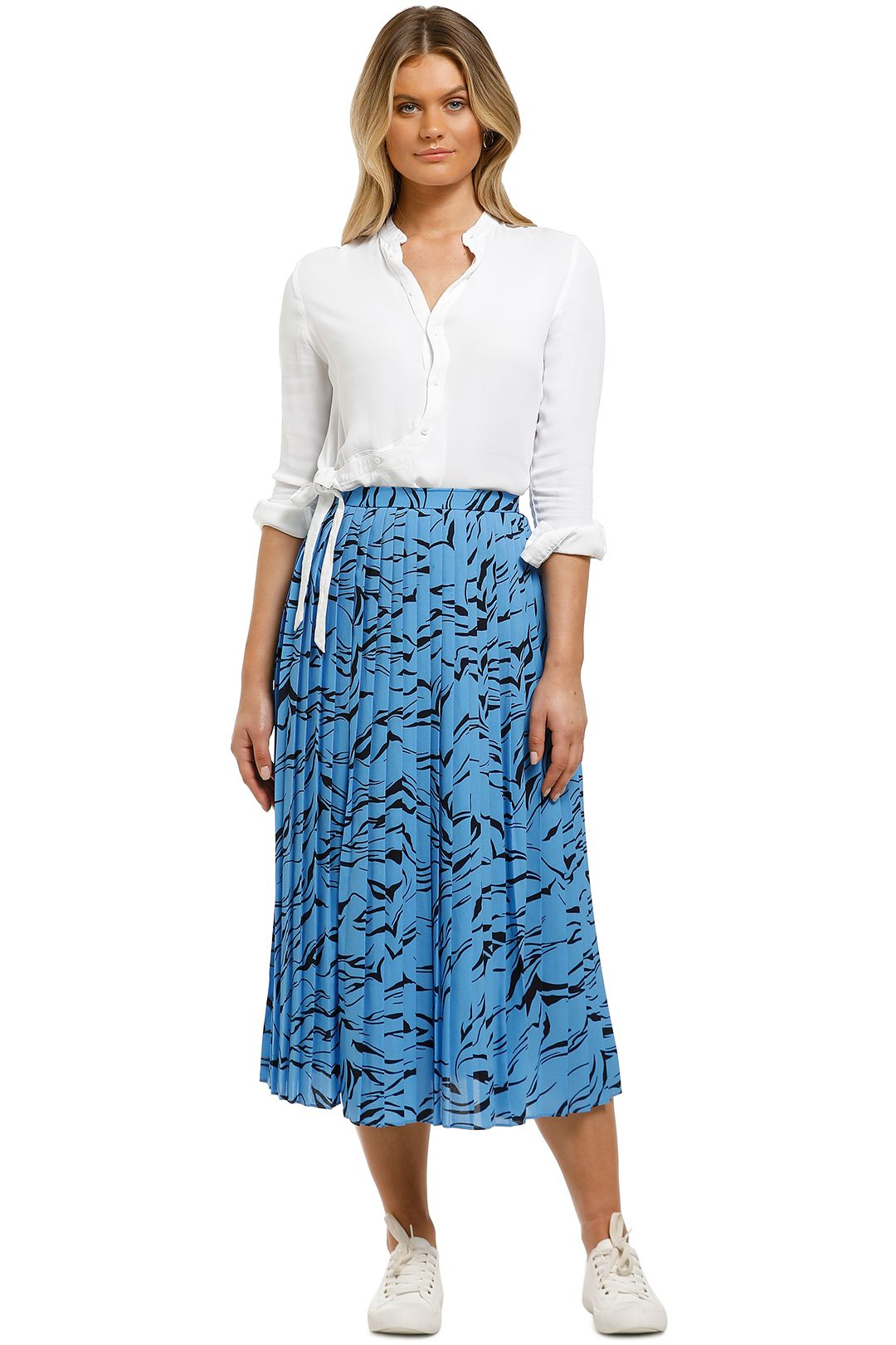 Country-Road-Printed-Pleat-Skirt-Azure-Front
