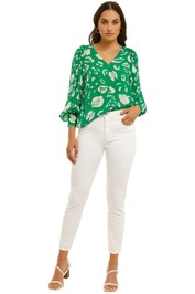 Country-Road-V-Neck-Print-Blouse-Vivid-Green-Front