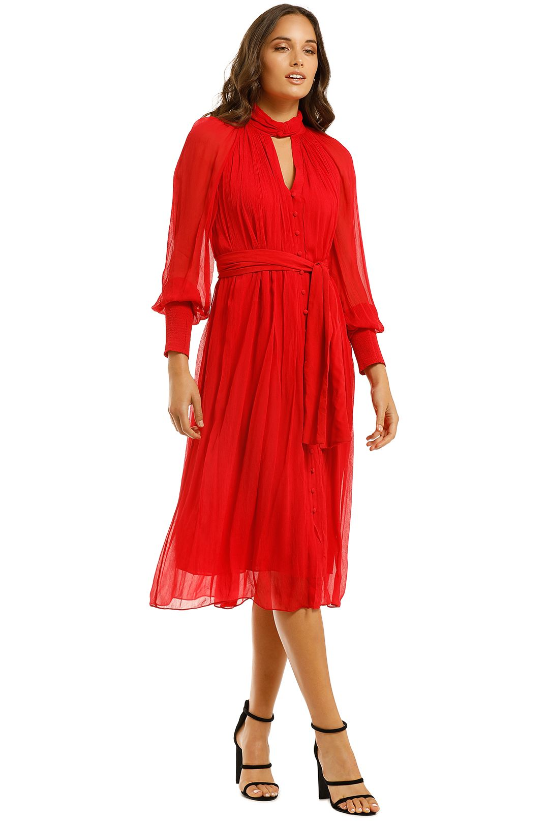 Country-Road-Vist-Knot-Dress-Red-Side