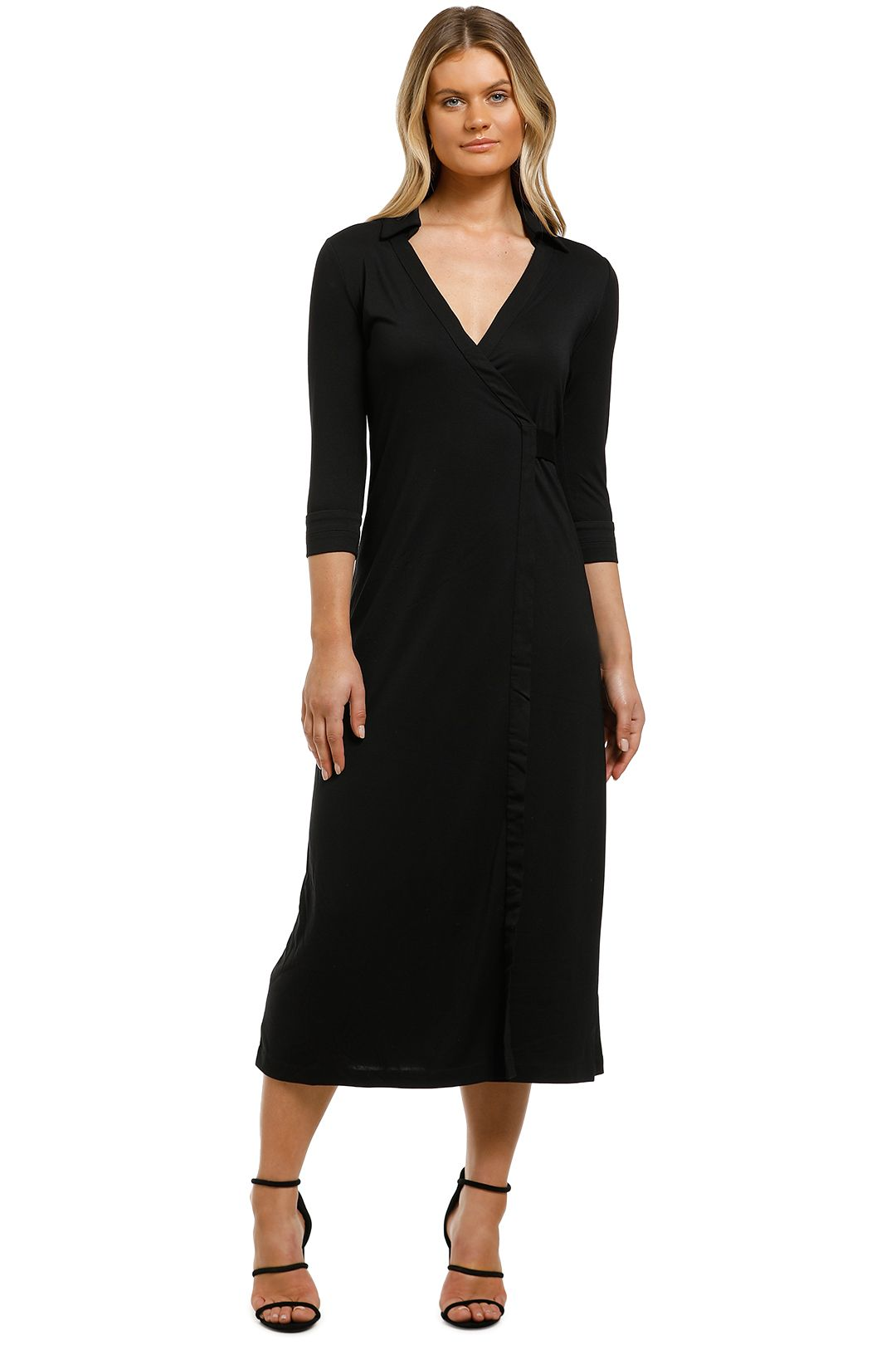 Country-Road-Wrap-Jersey-Dress-Black-Front