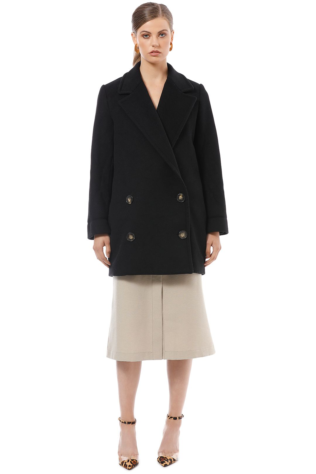 Country Road - Double Breasted Coat - Black - Front