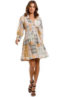 Country Road Cinched Waist Mini Dress long sleeve