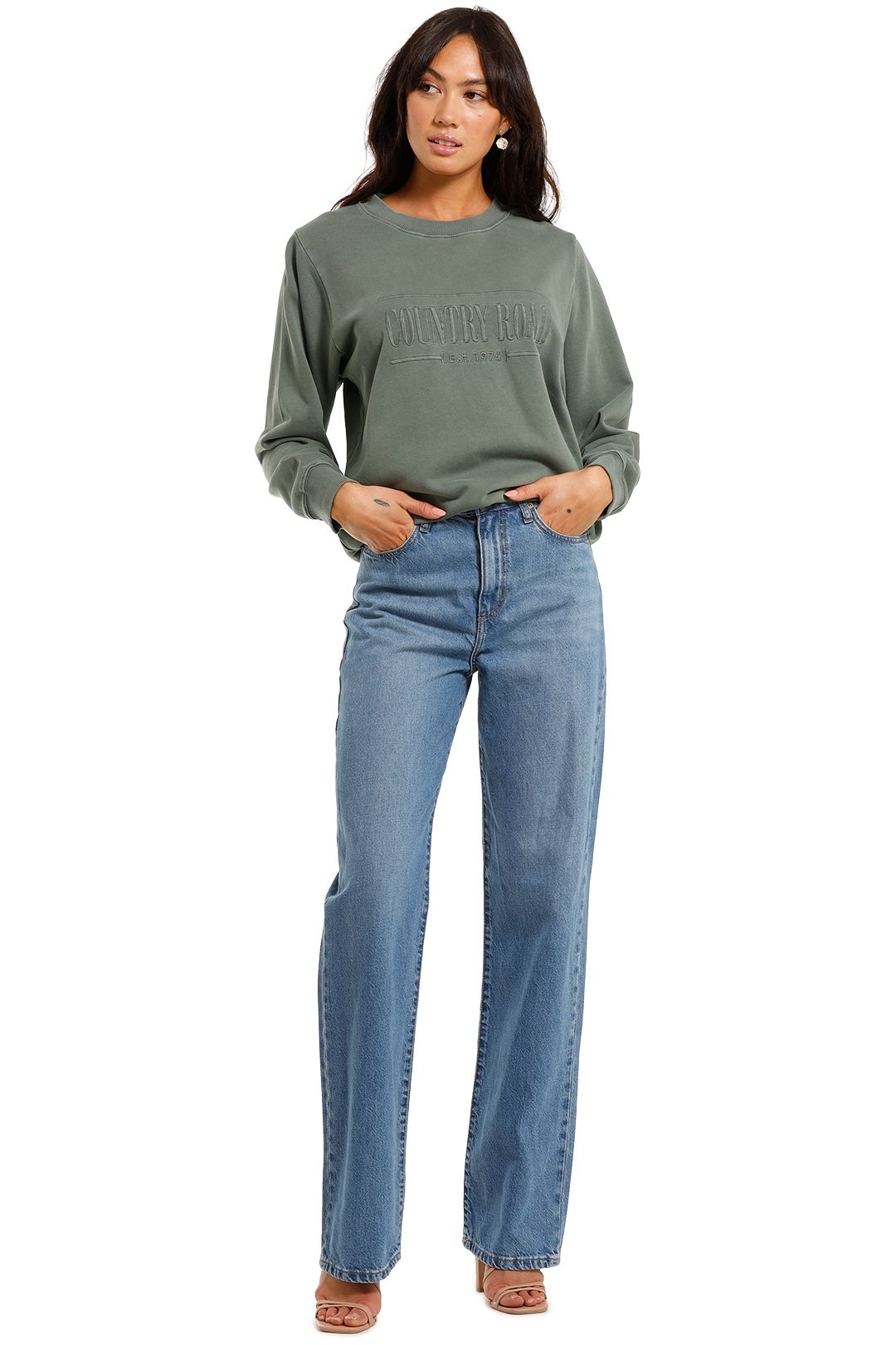 Country Road Heritage Sweat Sage crew