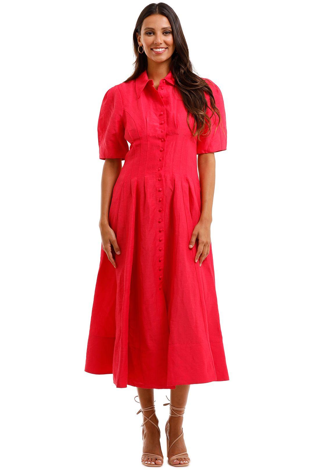 Country Road Midi Shirt Dress Raspberry