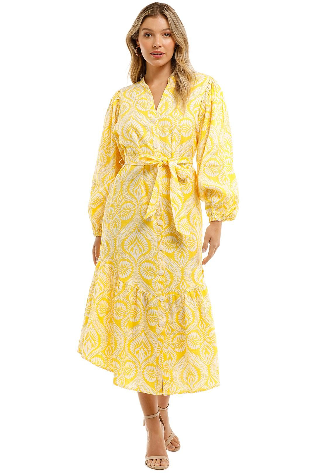 Country Road Print Yellow Wrap V Neck Long Sleeve Dress