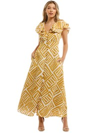 Country Road Print Ruffle Maxi Dress Cinnamon Flared Sleeves