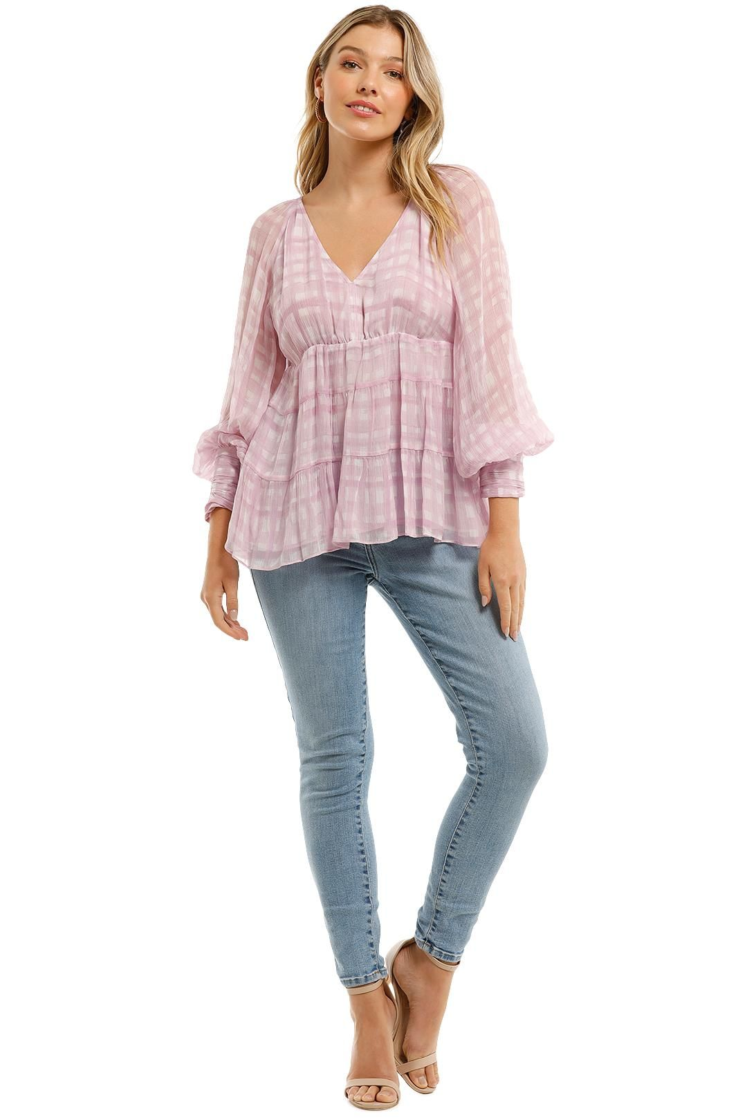 Country Road Print Soft Tiered Blouse Orchid