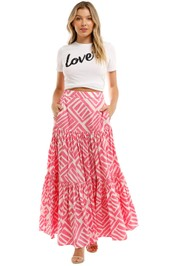 Country Road Print Tiered Maxi Skirt Pink
