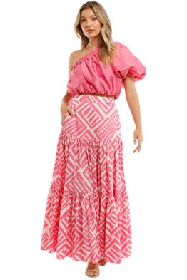 Country Road Silk One Shoulder Top Pop Pink Puffy Sleeves