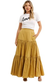 Country Road Tiered Maxi Skirt Cinnamon Smocked