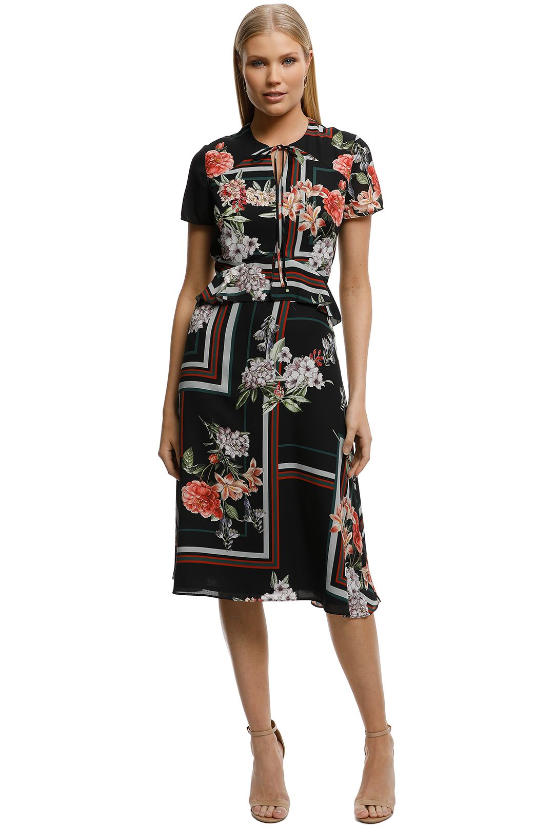 CUE-Floral-Scarf-Midi-Dress-Black-Absract-Print-Front