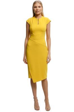 CUE-Mustard-Asymmetric-Pencil-Dress-Mustard-Front