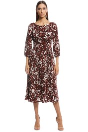 Cue - Abstract Leopard Boat Neck Dress - Burgundy - Front