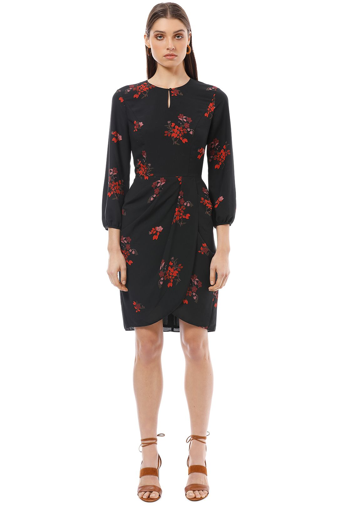 Cue - Autumn Floral Draped Skirt Dress - Print - Front