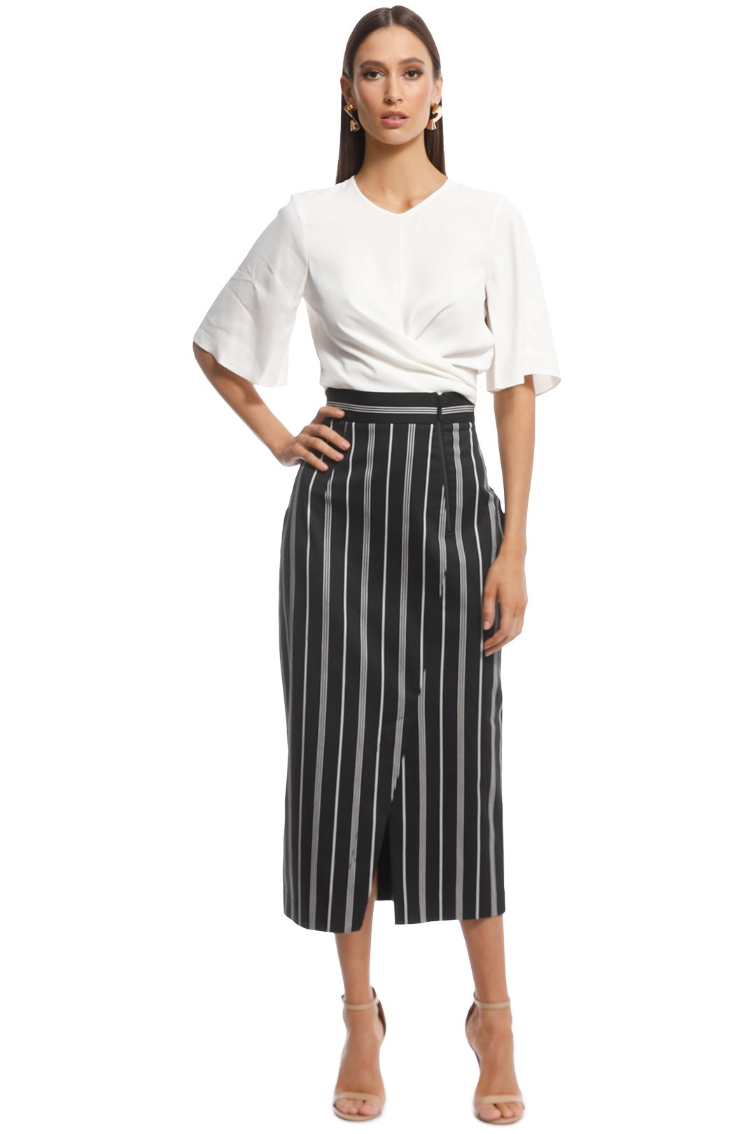 Cue - Bold Cotton Stripe Midi Skirt - Black/Grey - Front