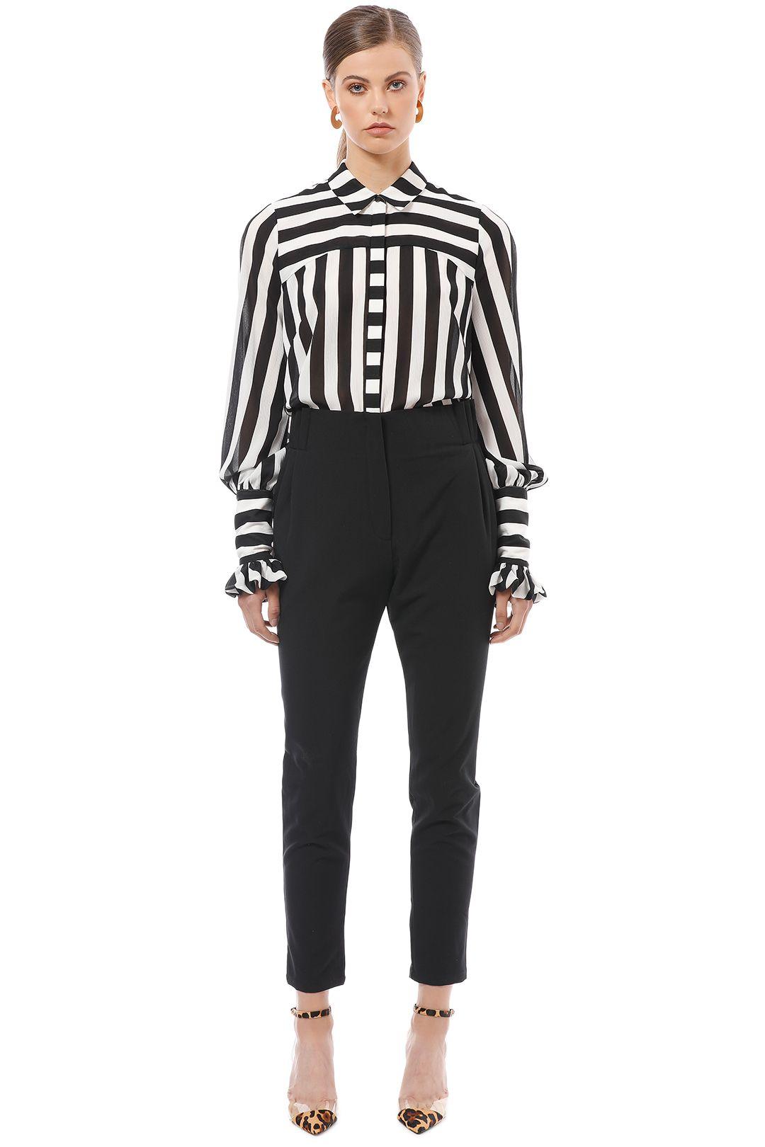 Cue - Bold Stripe Crinkle Georgette Shirt - Black White - Front