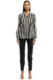 Cue - Bold Stripe Textured Georgette Shirt - BlackWhite - Front